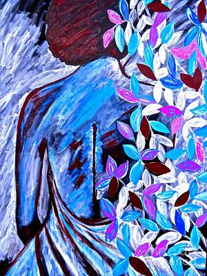 Painting - Silhouette And Flowers Abstract 3 Xl by Saundra Myles