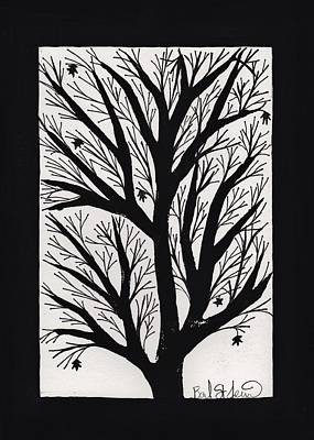 Lino Cut Drawing - Silhouette Maple by Barbara St Jean