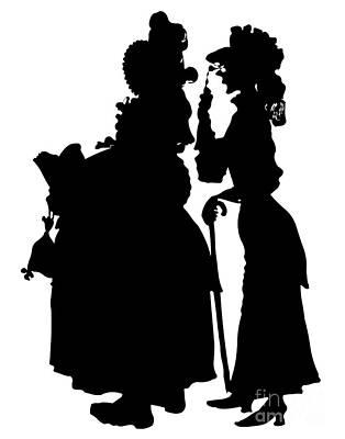 Scherenschnitte Digital Art - Silhouette Of 2 Old Ladies by Rose Santuci-Sofranko