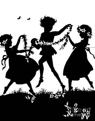 Scherenschnitte Digital Art - Silhouette Of 3 Children Dancing And Playing With Flowers by Rose Santuci-Sofranko