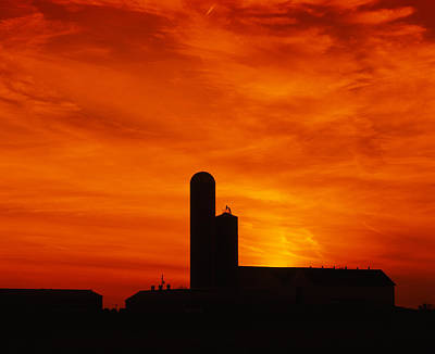 Silhouette Of A Barn And A Silo Art Print by Panoramic Images