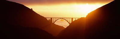 Silhouette Of A Bridge At Sunset, Bixby Art Print