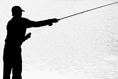 Angling Photograph - Silhouette Of A Fisherman Holding A Fishing Pole Bw by James BO  Insogna