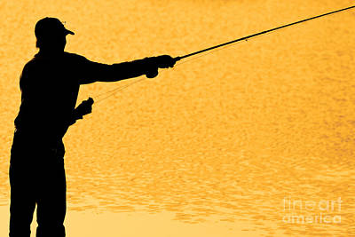 Silhouette Of A Fisherman Holding A Fishing Pole Gold Art Print by James BO  Insogna