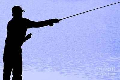 Silhouette Of A Fisherman Holding A Fishing Pole Art Print by James BO  Insogna