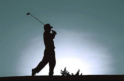 Silhouette Of A Golfer 1 Art Print by Lanjee Chee