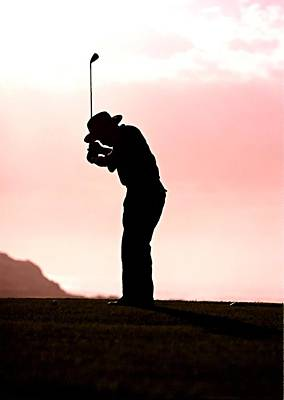 Professional Golf Painting - Silhouette Of A Golfer by Lanjee Chee