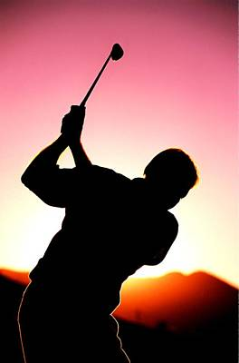 Silhouette Of A Golfer With A Driver About To Take A Shot Art Print by Lanjee Chee