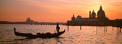Domes Of Venice Photograph - Silhouette Of A Gondola In A Canal by Panoramic Images