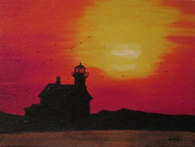 Painting - Silhouette Of A Lightouse by Kimber  Butler