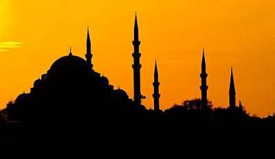 Silhouette Of A Mosque, Blue Mosque Art Print by Panoramic Images