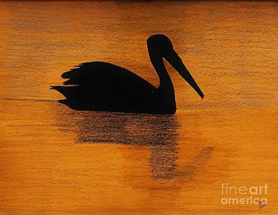 Silhouette Of A Pelican Art Print