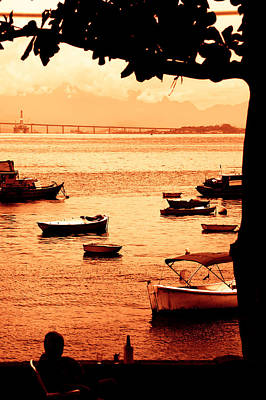 Photograph - Silhouette Of A Person And Boats At Late Afternoon In Rio De Jan by Celso Diniz