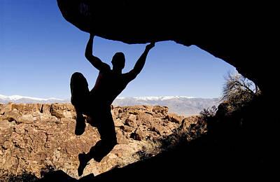 Silhouette Of A Rock Climber Art Print