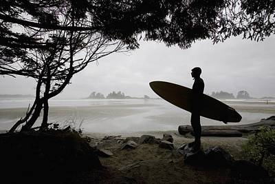 Silhouette Of A Surfer Looking Out To Art Print by Deddeda