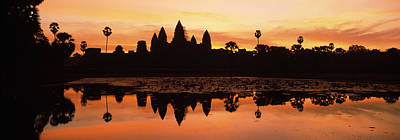 Silhouette Of A Temple, Angkor Wat Art Print by Panoramic Images