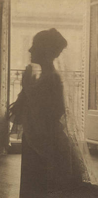 Platinum Drawing - Silhouette Of A Woman  A Maiden At Prayer Gertrude Käsebier by Litz Collection