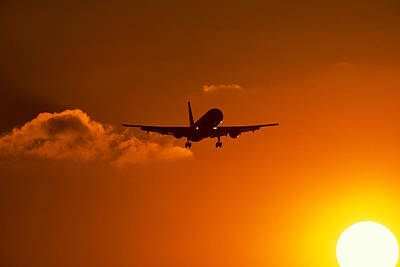 Airliners Photograph - Silhouette Of Airliner In Golden Sunset by Panoramic Images