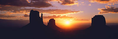 Silhouette Of Buttes At Sunset, The Art Print by Panoramic Images