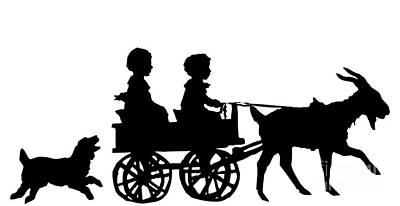 Animal Digital Art - Silhouette Of Children In A Goat Cart by Rose Santuci-Sofranko