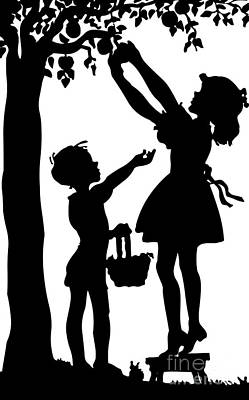 Digital Art - Silhouette Of Children Picking Apples by Rose Santuci-Sofranko