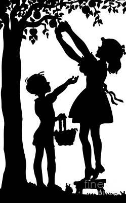 Scherenschnitte Digital Art - Silhouette Of Children Picking Apples by Rose Santuci-Sofranko