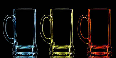 Photograph - Silhouette Of Color Beer Glass On Black by Vasil onyskiv
