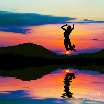 Silhouette Of Happy Woman Jumping At Sunset Art Print