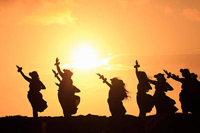 Medium Group Of People Photograph - Silhouette Of Hula Dancers At Sunrise by Panoramic Images