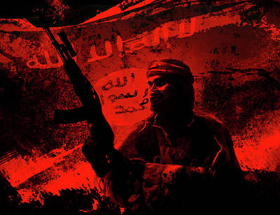 Photograph - Silhouette Of Islamic Soldier Militant by Oleg Zabielin