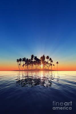 Red Leaf Digital Art - Silhouette Of Island Sunset by Aleksey Tugolukov