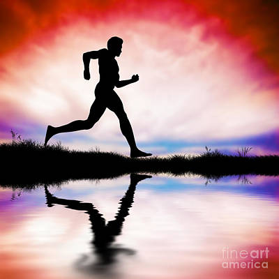 Silhouette Of Man Running At Sunset Art Print