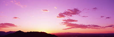 South Mountain Photograph - Silhouette Of Mountains At Sunset by Panoramic Images