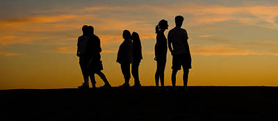 Medium Group Of People Photograph - Silhouette Of People On A Hill, Baldwin by Panoramic Images