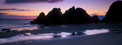 Silhouette Of Rocks On The Beach, Erme Art Print by Panoramic Images