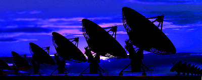 Silhouette Of Satellite Dishes Art Print by Panoramic Images