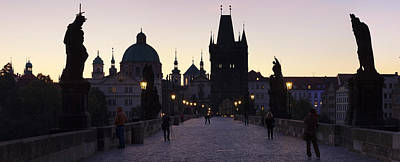 Silhouette Of Statues On Charles Bridge Art Print by Panoramic Images