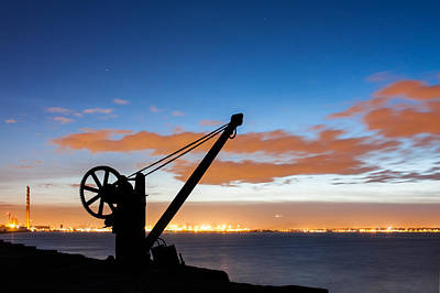 Silhouette Of The Davit In Dublin Port Print by Semmick Photo