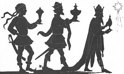 Christmas Eve Painting - Silhouette Of Three Kings by English School
