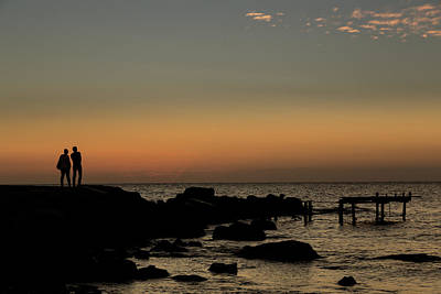 2 Solitudes Photograph - Silhouette Of Two People Standing by John Short