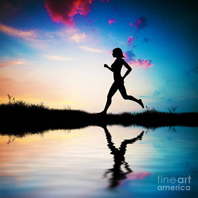 Silhouette Of Woman Running At Sunset Art Print