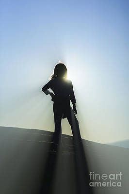 Photograph - Silhouette Of Young Girl On Top Of A Mountain. by Don Landwehrle