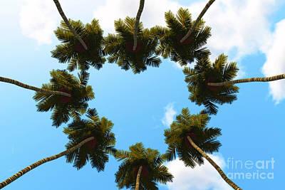 Silhouette Digital Art - Silhouette Palms View Up by Aleksey Tugolukov