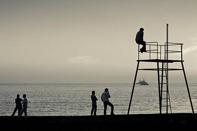 Enjoyment Photograph - Silhouette People On Pier At Sunset by Panoramic Images