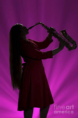 Sax Girl Photograph - Silhouette Saxophone Girl In Color 3208.02 by M K  Miller