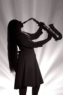 Sax Girl Photograph - Silhouette Saxophone Girl In Sepia 3208.01 by M K  Miller