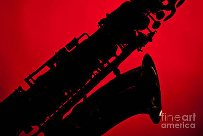 Saxophone Photograph - Silhouette Saxophone Instrument Bell In Color 3269.02 by M K  Miller