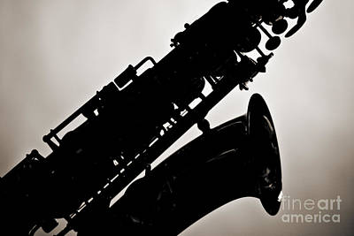 Photograph - Silhouette Saxophone Instrument Bell In Sepia 3269.01 by M K Miller