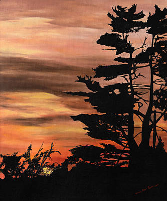 Art Print featuring the painting Silhouette Sunset by Mary Ellen Anderson