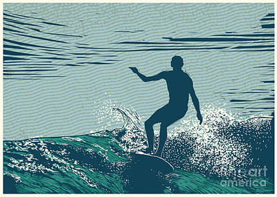 Waves Digital Art - Silhouette Surfer And Big Wave by Jumpingsack